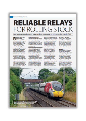 Reliable Relays for Rolling Stock